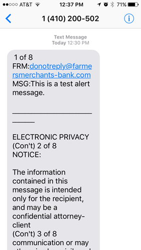 Sample text message from FMB